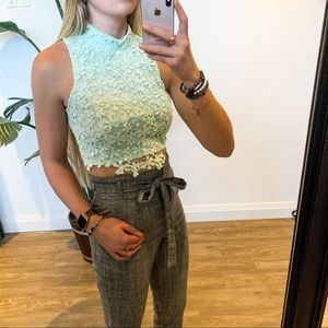 Mint Green Charlotte Russe Lace Crop Top Sz Small